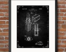 Lipstick Patent Wall Art Print, Patent Art, Patent Poster, Blueprint, Patent Print Digital Download Print Now Immediate