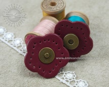 Maroon Flower Magnetic Snaps,bag button,Magnetic Snaps,Burgundy Flower Sewing Snap,Flower Shape Sew in Leather Magnetic Snap Fastener