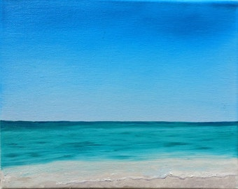 Original Oil Painting - Beach Painting-  Seascape - Calm Waters - 8 x 10