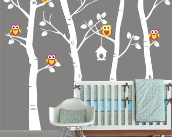 birch tree decal - tree owl decals - tree with owls -Birch Nursery Decal - Birch Owl Decal - Birch Wall Sticker - Nursery Tree Decal f W827