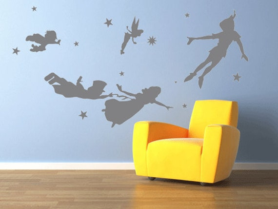 Peter pan wall decal vinyl nursery kids children by haitaohot - Wall stickers camerette ...