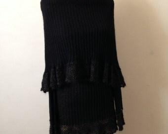 Chunky Cowl neck Sweater with metallic crochet