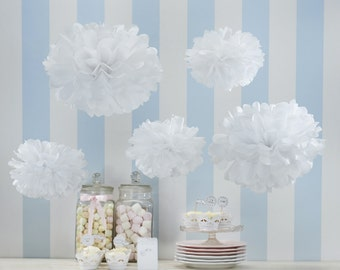 "Pom Poms White Pom Pom, Hanging 8"" Large Tissue Paper Wedding, Baby Shower , Party Decorations FREE US Shipping"
