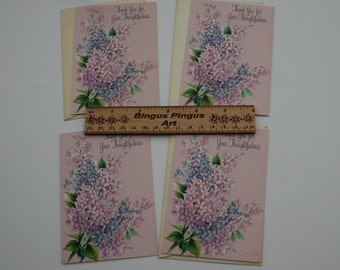 Vintage Thank You Cards, Hallmark Lilac Purple Flower Floral Thank You Greeting Cards with Envelopes, Lot of 4