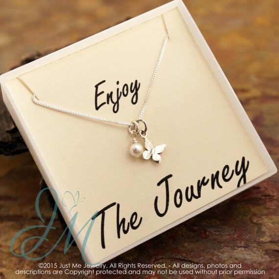 Graduation Necklace with fresh pearl - Butterfly Sterling Silver Necklace - Enjoy the Journey