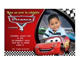 Disney Pixar Cars Photo Birthday Party Invitations- Printable or Printed