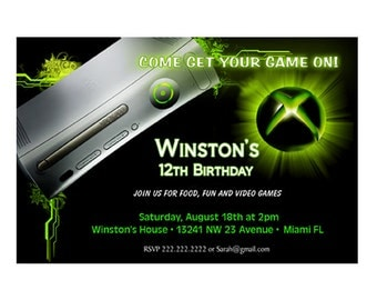 XBOX Video Game Birthday Party Invitation - Printable or Printed