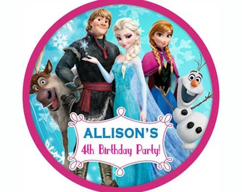 Frozen Personalized birthday party round sticker label