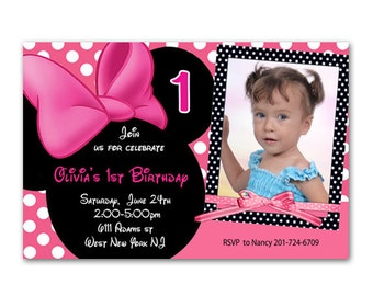 Hot Pink Minnie Mouse Printable Birthday Invitation