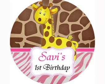 pink giraffe safari baby shower/ Birthday round sticker label