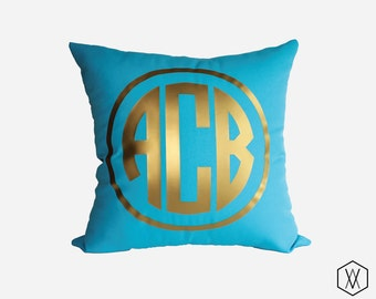 Gold Monogram Throw Pillow Cover - Gold, Silver, and More - Circle Monogram Pillow Cover - Turquoise