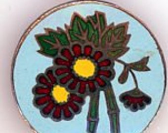 Floral Enamel Button
