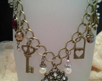 Antique Gold Royal Key Necklace