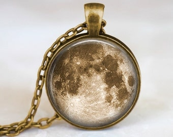 Vintage Full Moon -  Space Handmade Pendant Necklace