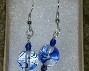 Blue Swirl Drop Earrings