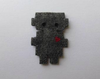 cute robot felt hair clip
