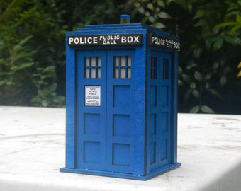 TARDIS Lamp from Doctor Who with Ultra Bright LED Light in Precision Laser Cut Wood Lantern