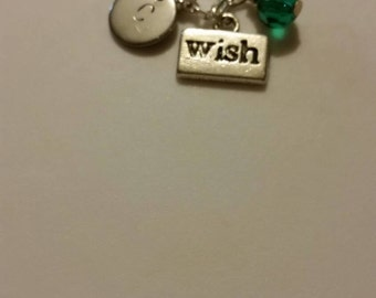 Monogram wish necklace, personalized wish necklace, initial wish necklace, you chose the color crystal
