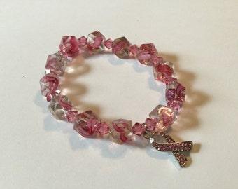 Breast Cancer Bead Bracelet