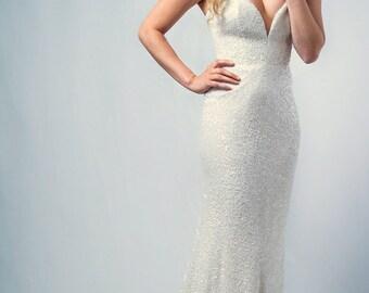 Smitten - silk sequin chiffon, ivory wedding gown, strapless, sweetheart neckline