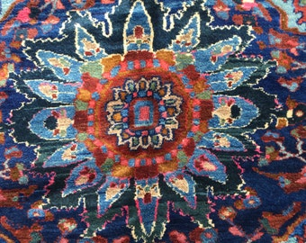 "Lilihan Sarouk Persian Rug 5'5"" x 7'4"" Authentic Armenian Folk Art 1930s"