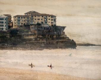 Limited Edition Print, Fine Art Photography, Manly Beach Surfers,  Impressionism, Texture, Australia, Sydney, Wall Art
