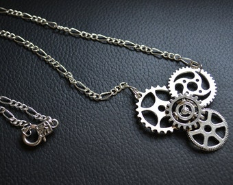 Steampunk silver tone necklace