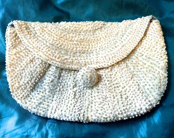 Vintage White Sequin and Bead Purse