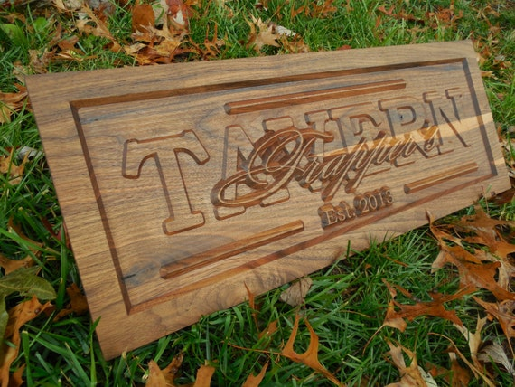 Personalized last name wood sign tavern by