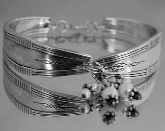 Spoon Bracelet by Oneida Countess/Baroness Vintage Spoon Bracelet  Swarovski pearls silverware jewelry silver bracelet wedding handmade-31