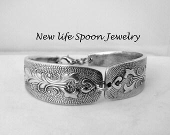 Spoon Bracelet Vintage Bracelet Silverware Antique Flatware Spoon Handles Silver Bracelet Gift --217