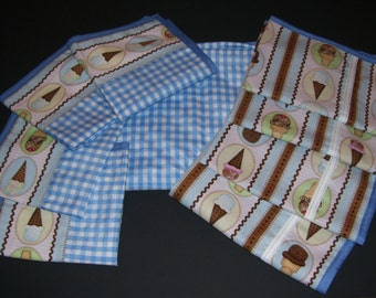 SUMMER TABLECLOTH SETS -  icecream tabelamats - blue checkered tablecloth - icecream home decor - icecream placemats - icecream linens