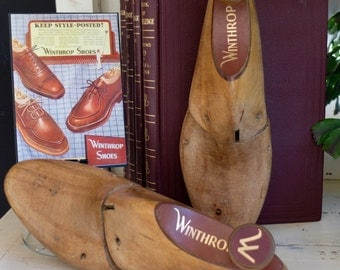 Vintage Wooden Shoe Stays and print of a 1949 Winthrop Shoe Ad