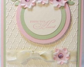Handmade Velum Flower All Occasion Card