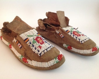 A pair of Native American Beaded Moccasins, 1880-1910