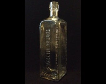 """FREE SHIPPING-Vintage-Toneco Bitters-Appetizer & Tonic-Clear-Embossed-Hand Blown Glass-By The Lash's Bitter Co.-9 1/2""""-Bottle"""