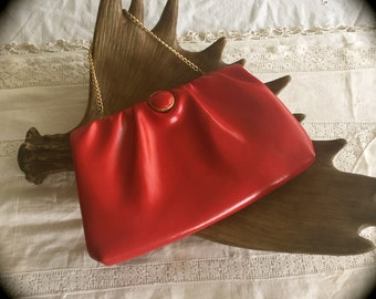 60's mod red clutch purse
