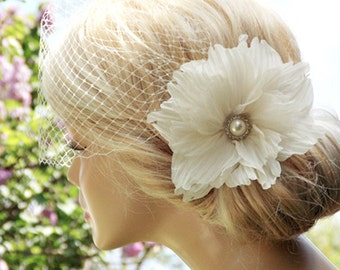 Ivory Birdcage Veil Wedding Hairstyles Bridal hair Wedding birdcage veil Bridal Headpiece Hair updos Ivory fascinator Bridal Hairstyles
