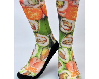 Sushi Socks - Hand Printed in USA - Crazy Socks | Cute Socks | Fun Socks | Novelty Socks | Gift Socks | Sushi Gifts | Kids, Women's, Mens
