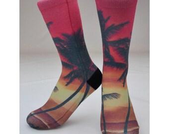 Sunset Sock - Hand Printed in USA - Hawaiian Gift   Hawaiian Socks   Palm Tree Socks   Hawaii Gift   Tropical   Floral   Kids, Men, Women