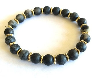 Charcoal Gray Stone Beaded Bracelets with Gold Accents