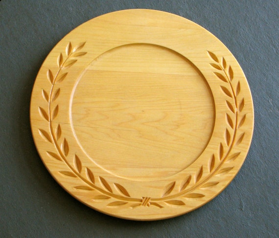 Chip carved wooden plate