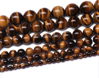 Natural Yellow Tigers Eye Gemstone 4 6 8 10 12 14mm Round Beads for Jewelry (B85)