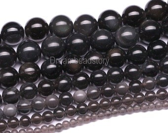 Ice Obsidian Beads, Icy Beads, Black Obsidian Stone Beads for Necklace, Bracelet and Earrings Making, 4 6 8 10 12 14mm Black Beads in Bulk