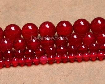 Cherry Red Agate Beads, Ripe Cherry Carnelian Beads, Smooth Round Red Agate Beads Strand, 4mm 6mm 8mm Natural Carnelian Beads Supplies (B9)