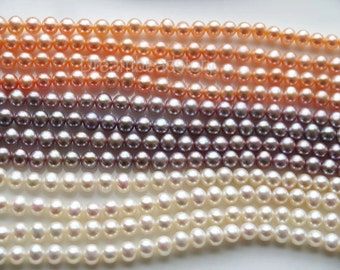 Pearl Strands, AA Pearl Beads, Nearly Round Pearls, Natural White Pink Violet Pearl Beads, 8-9mm Pearls Beads