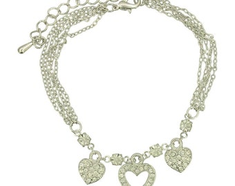 Crystal Heart Bracelet (Modern Dainty Silver Plated Charm Bracelet Fashion Jewelry RSB1115)