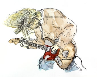 Kurt Cobain nirvana art print, poster, sketch, painting, watercolour
