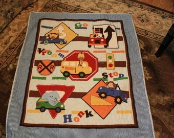 Baby Quilt cars, trucks and signs