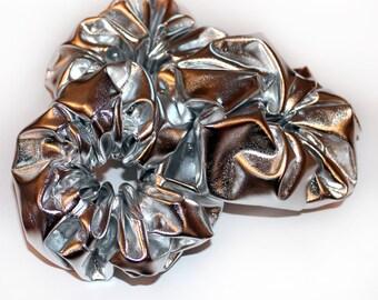 Metallic Silver Scrunchie